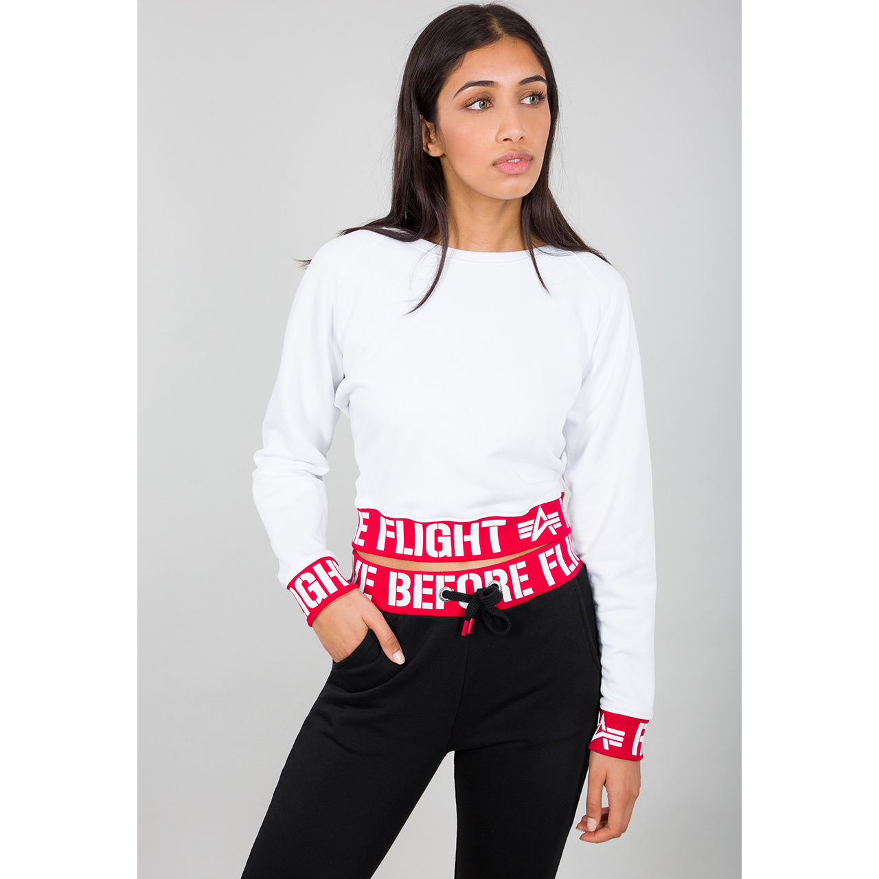 mikina RBF Cropped Sweater WMN white