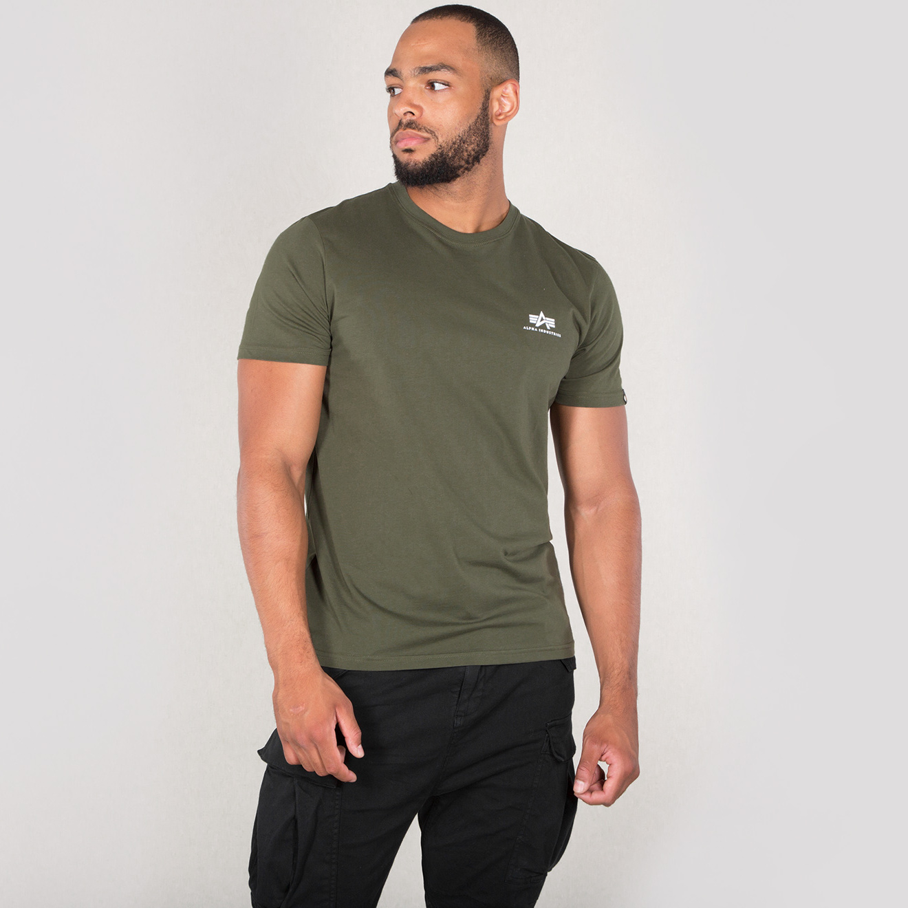 tričko BASIC T SMALL LOGO dark olive