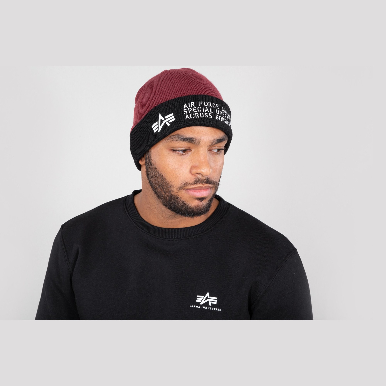 čepice AIR FORCE BEANIE burgundy